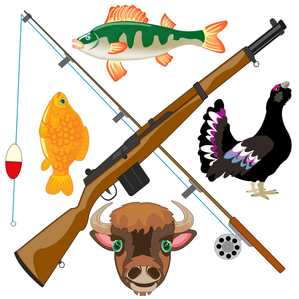 Symbol of the hunt and fishings on white background is insulated. Rest and fascination of the person hunt and fishing