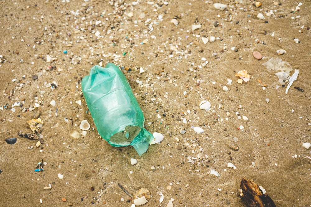 Plastic and microplastic in the sand beach