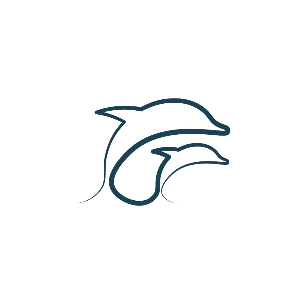 dolphins line icon vector illustration