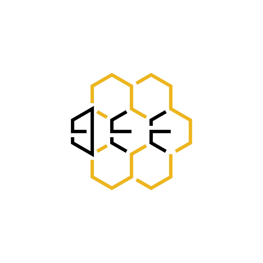 honeycomb with bee text logo icon vector