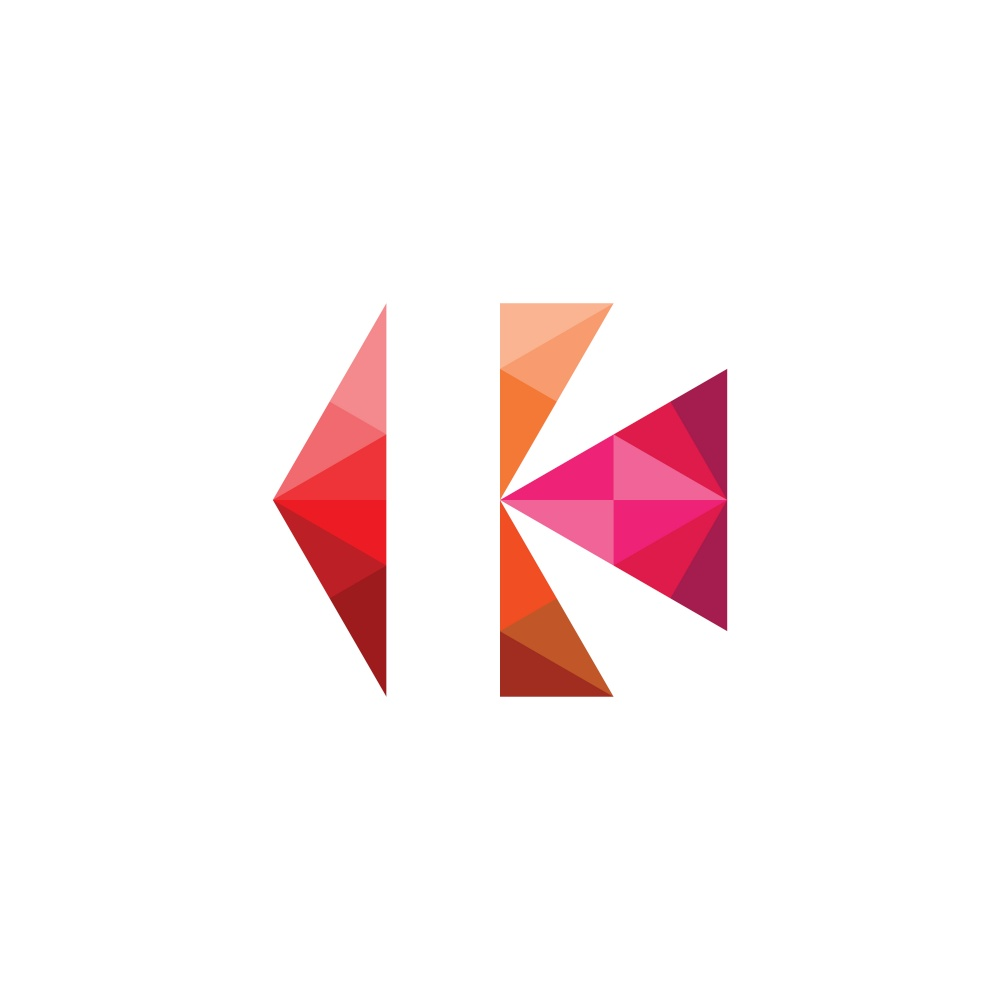 letter k with geometric triangles logo vector icon