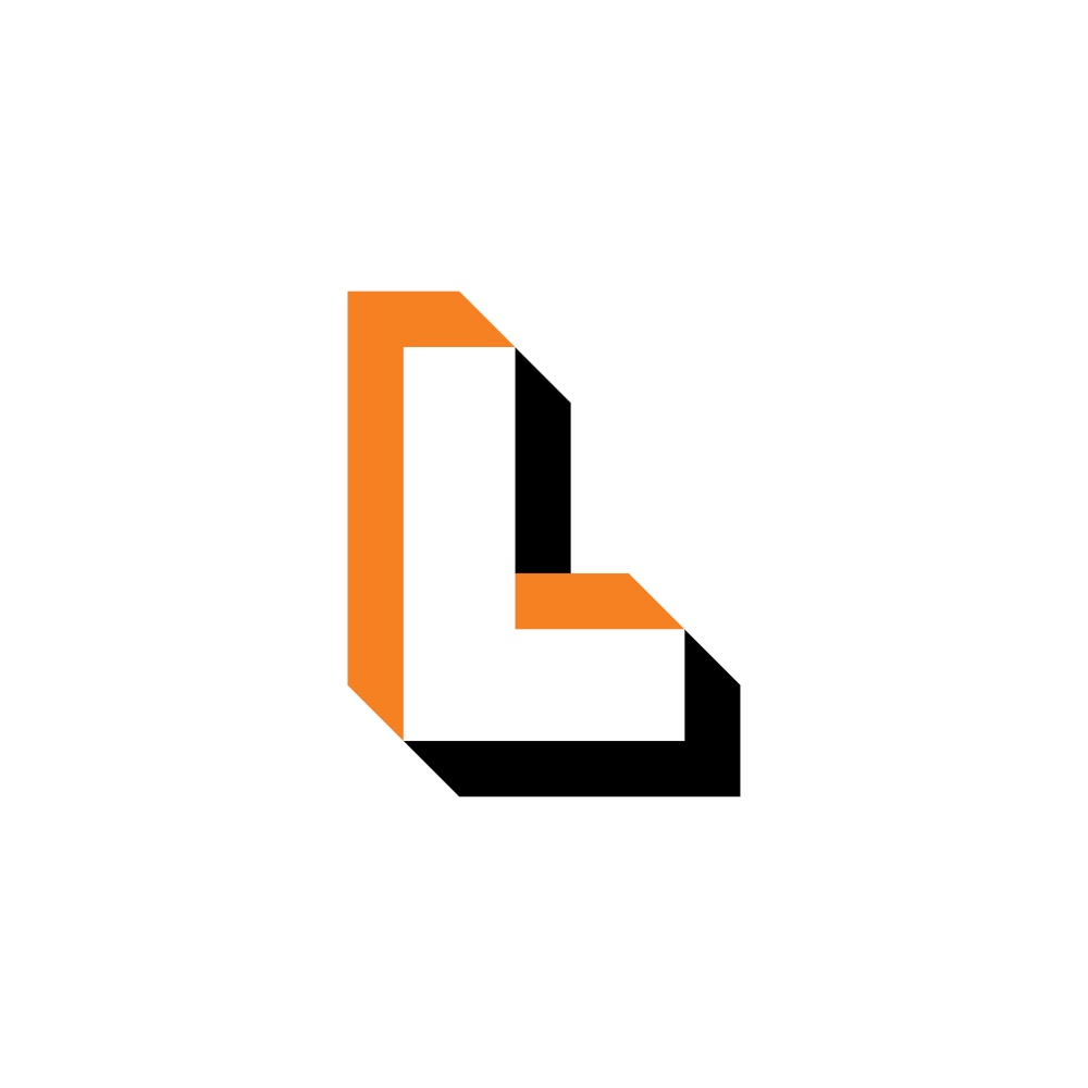 letter l optical illusion logo icon