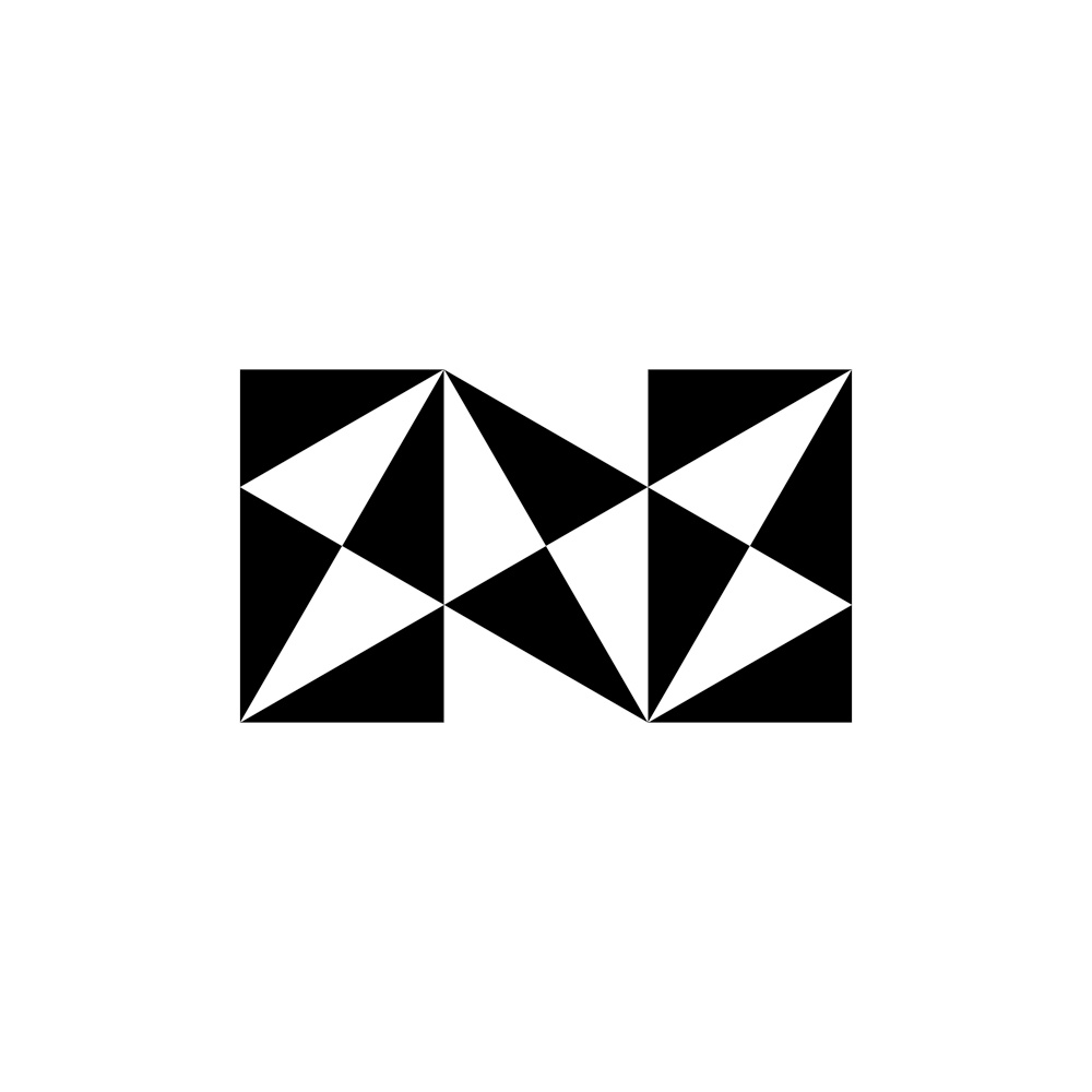 letter n geometric black triangles logo icon