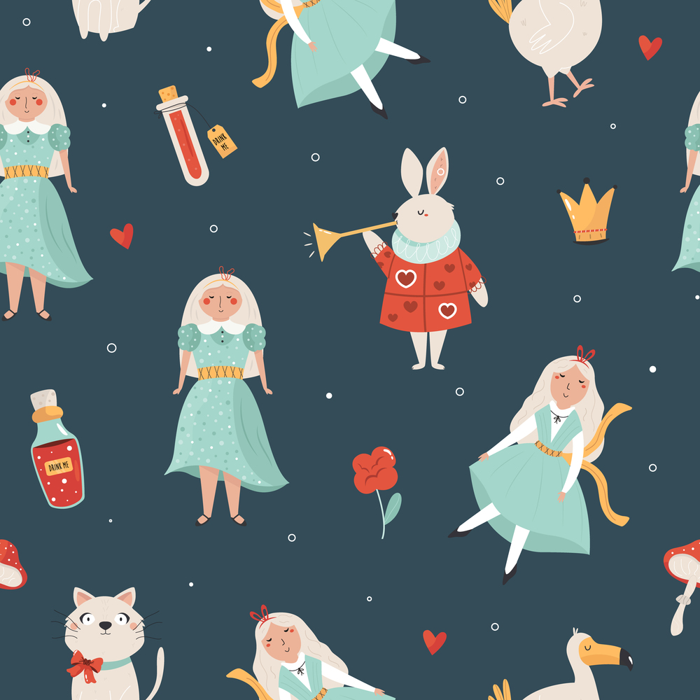 Seamless pattern with symbols from Alice in Wonderland. Vector illustration. Seamless pattern with symbols from Alice in Wonderland