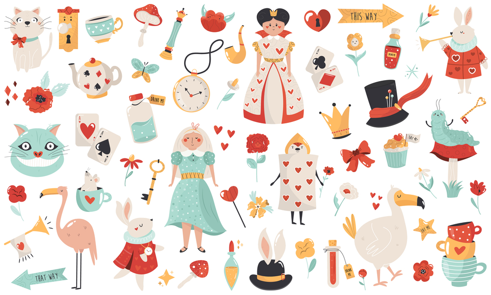 Big collection with symbols and characters of Alice in Wonderland. Vector illustrations.. Big collection with symbols and characters of Alice in Wonderland.