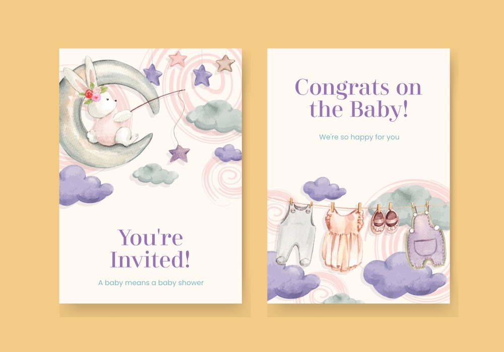 Card template with hello baby concept ,watercolor style