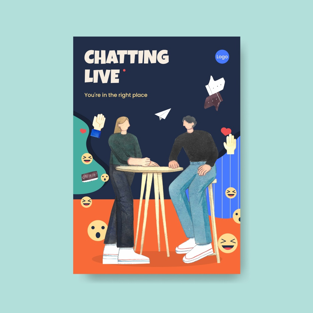 Poster template with live conversation concept ,watercolor style