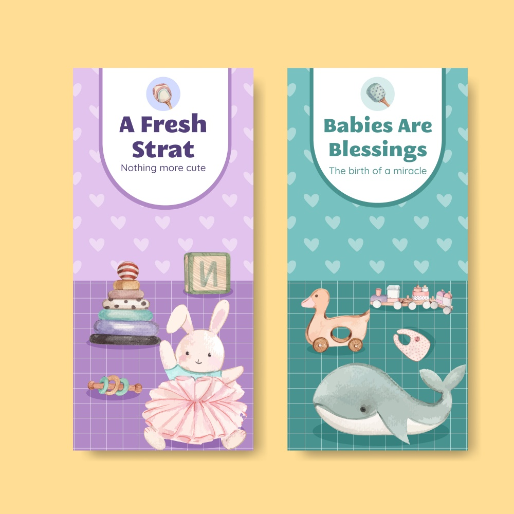 Flyer template with hello baby concept ,watercolor style