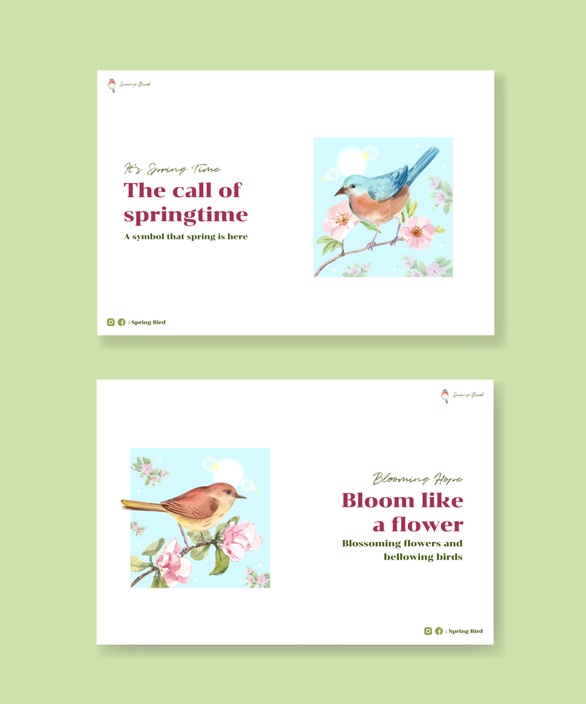 Facebook template with spring and bird concept design for social media and community watercolor illustration