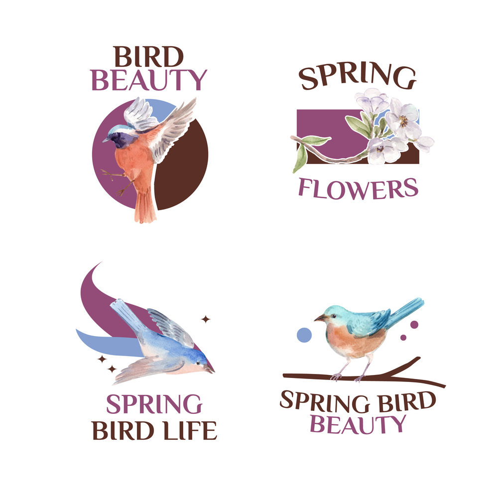 Logo design with spring and bird concept for branding and marketing watercolor illustration