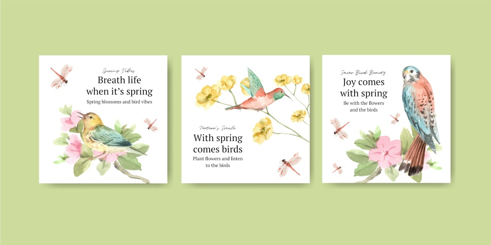 Advertise template with spring and bird concept design for marketing watercolor illustration