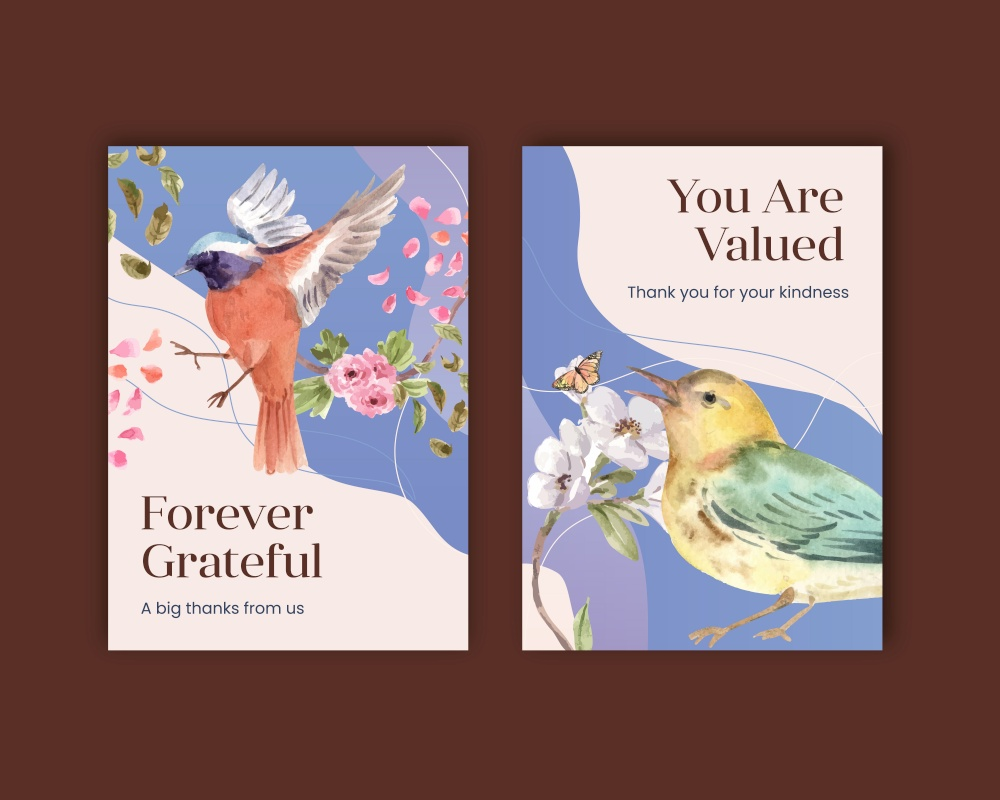 Thank you card template with spring and bird concept design for greeting and invitation watercolor illustration