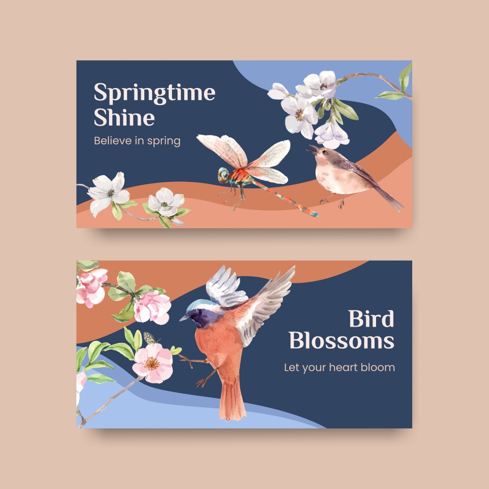 Twitter template with spring and bird concept design for social media and community watercolor illustration