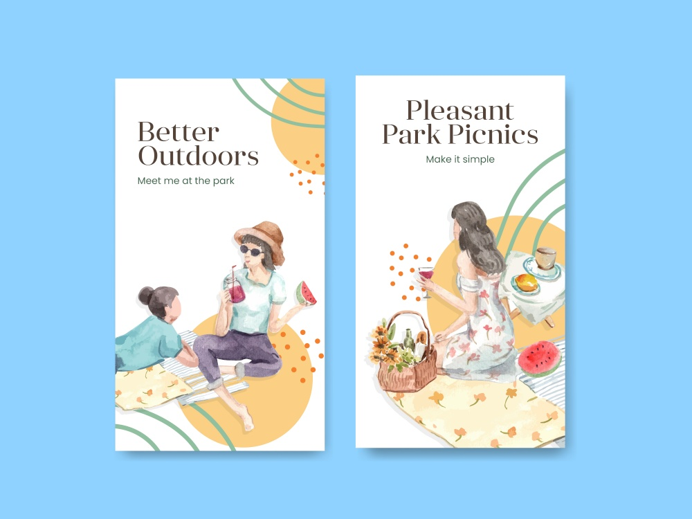 Instagram template with picnic travel concept design for social media watercolor illustration