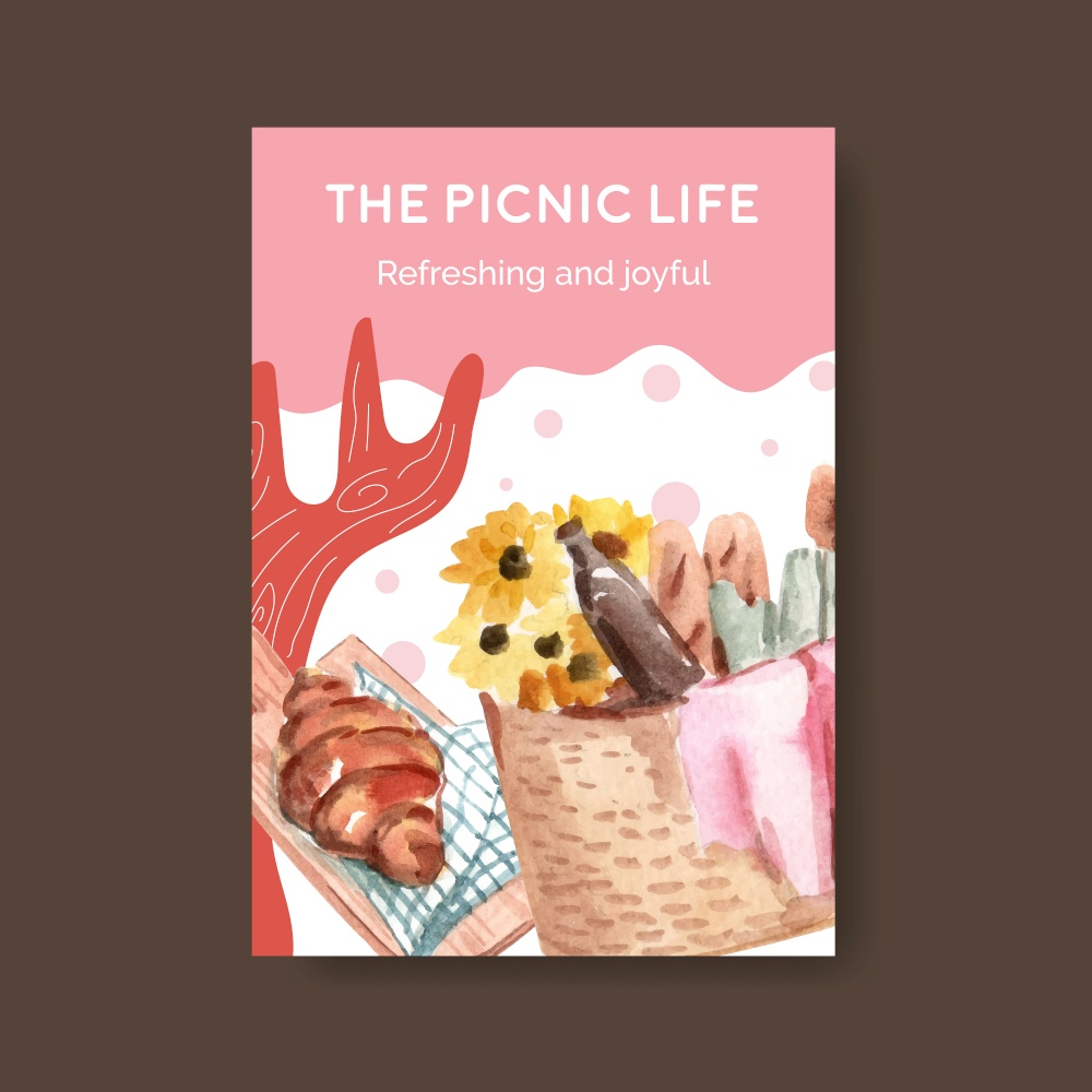 Poster template with picnic travel concept for advertise watercolor illustration