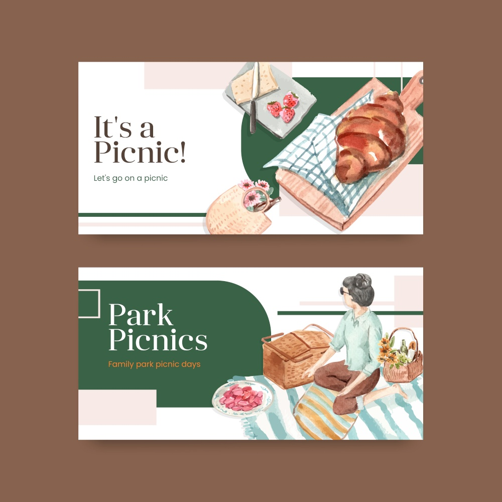 Twitter template with picnic travel concept design for social media and community watercolor illustration