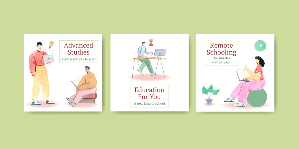 Advertise template with online learning concept design for marketing watercolor illustration