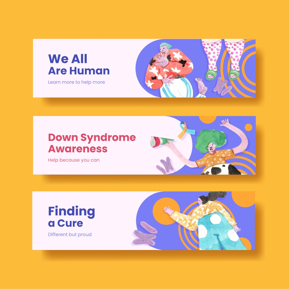 Banner template with world down syndrome day concept design for advertise and marketing watercolor illustration