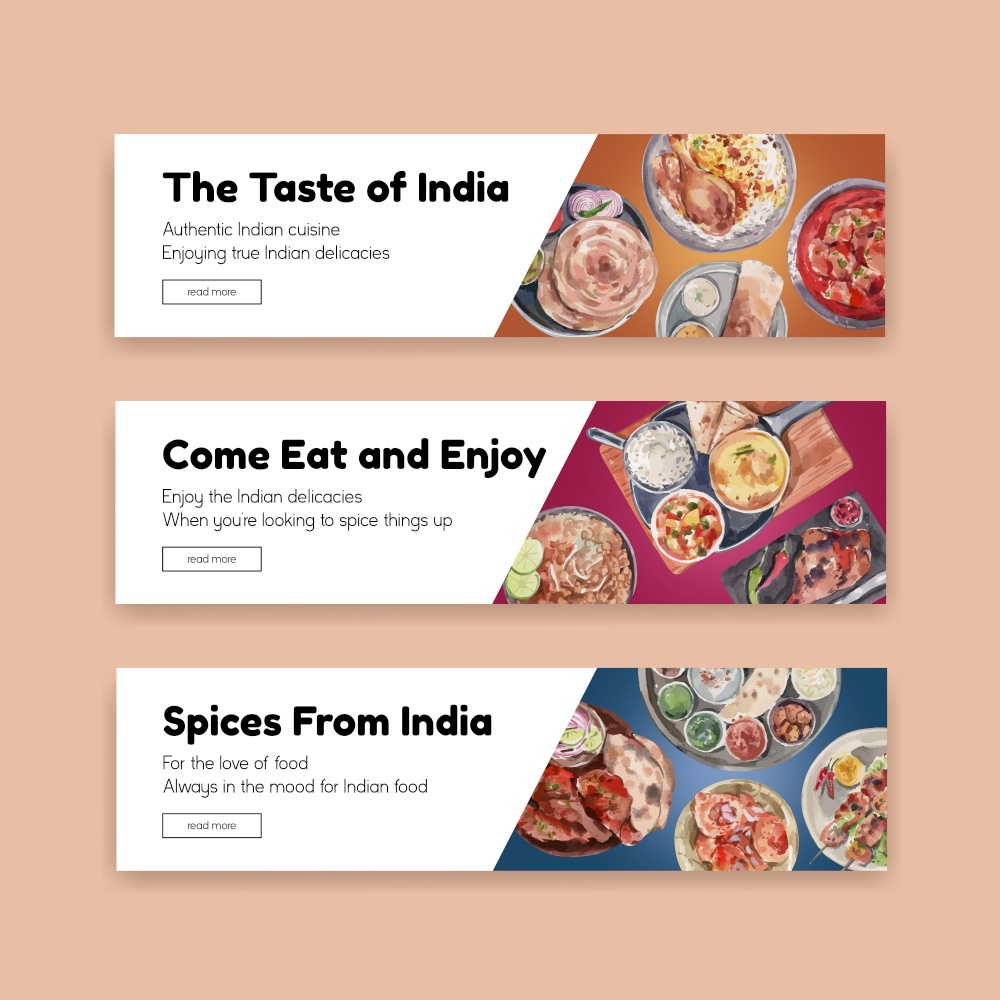 Banner template with Indian food concept design for advertise and marketing watercolor illustraton