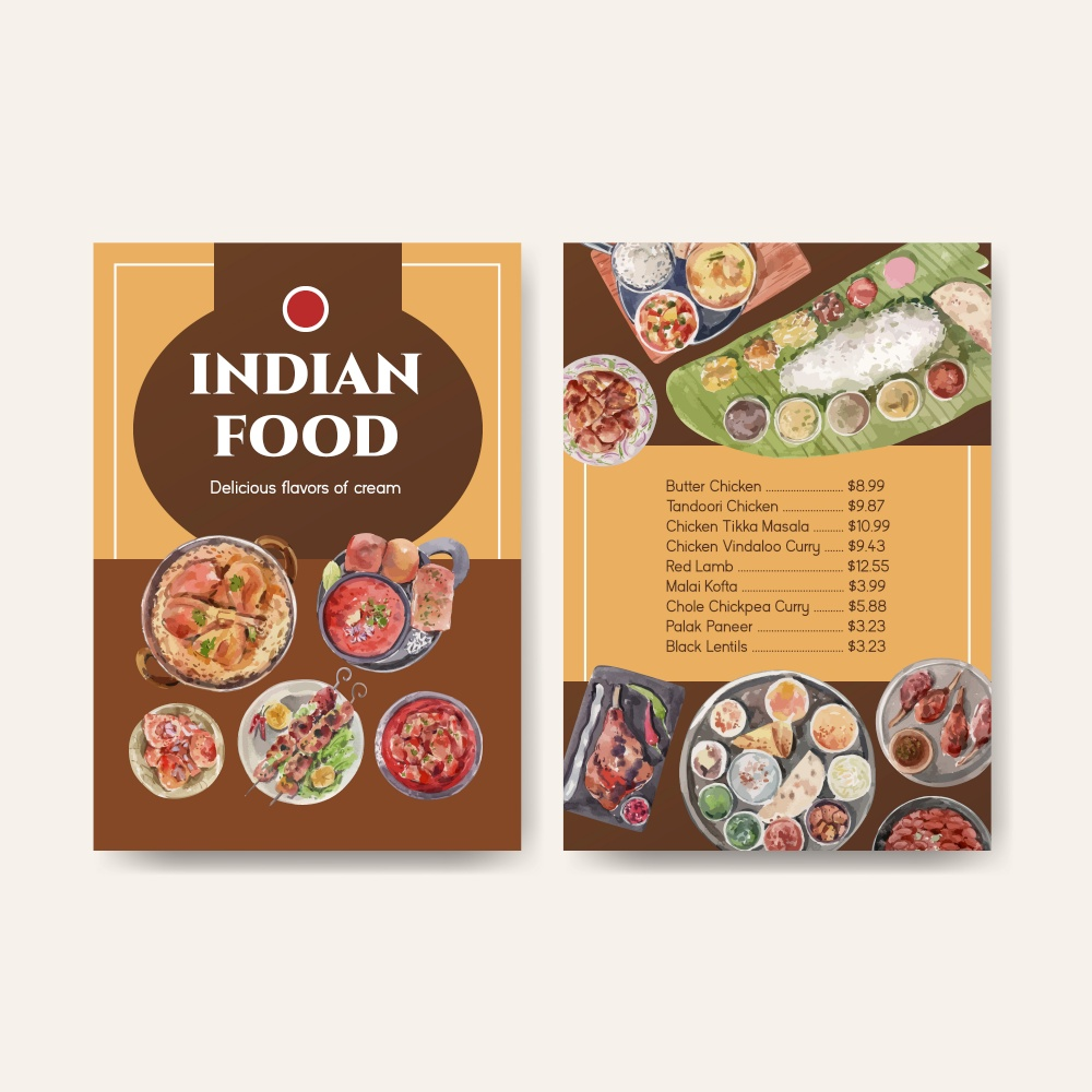 Menu template with Indian food concept design for restaurant and bistro watercolor illustraton
