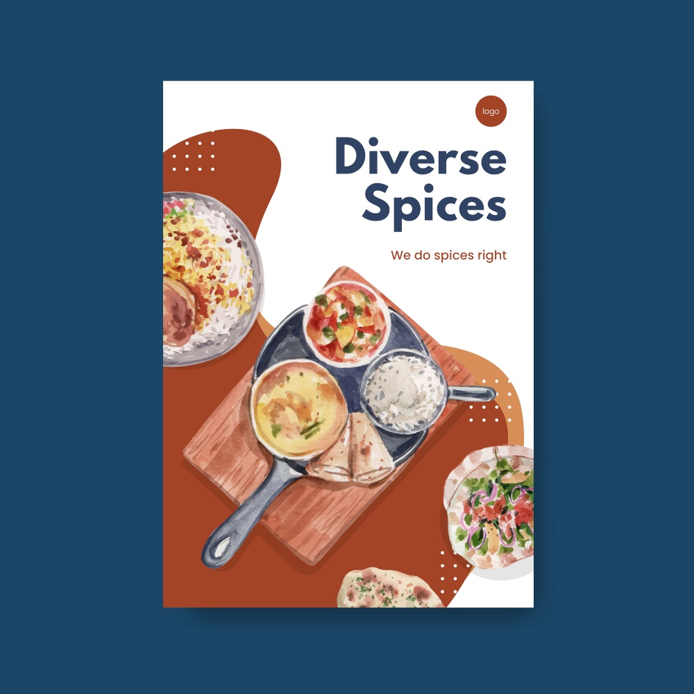 Poster template with Indian food concept design for advertise and marketing watercolor illustraton