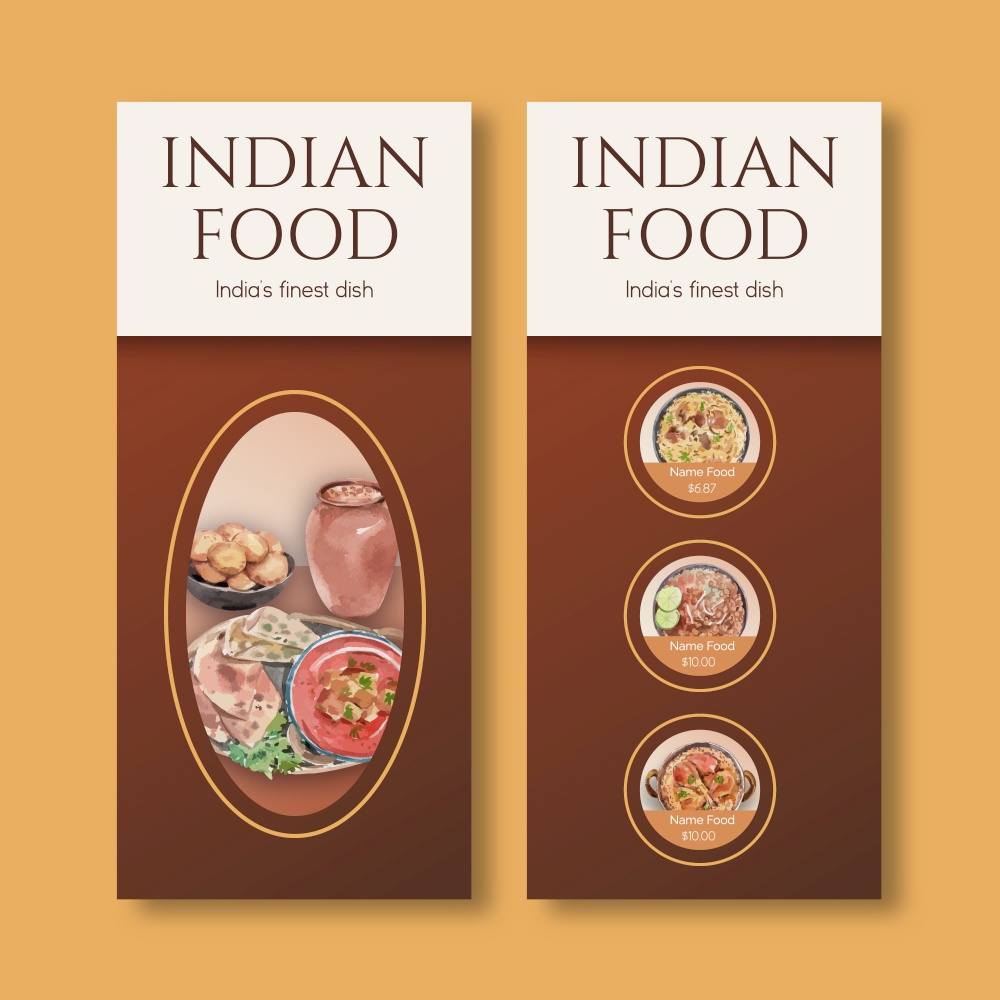 small Menu template with Indian food concept design for restaurant and bistro watercolor illustraton
