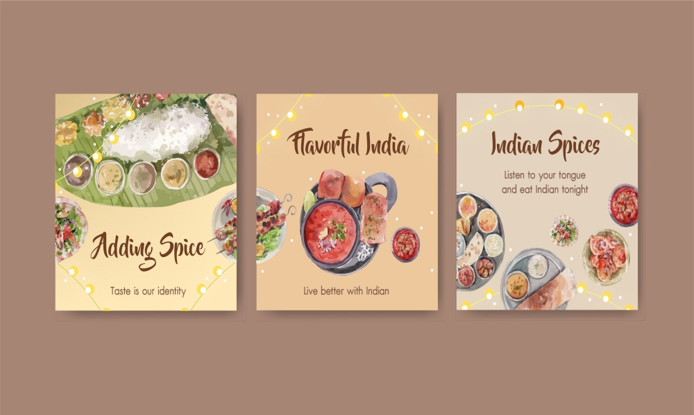 Advertise template with Indian food concept design for marketing watercolor illustraton