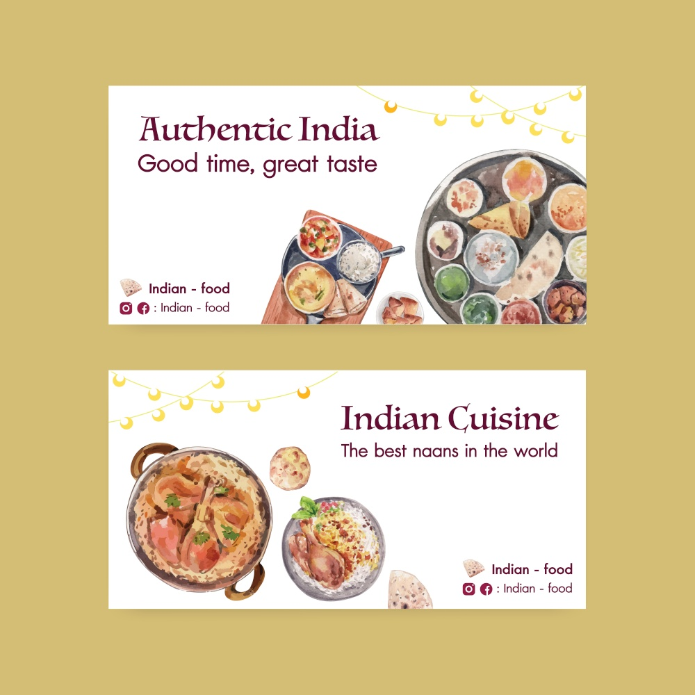 Twitter template with Indian food concept design for social media and community watercolor illustraton