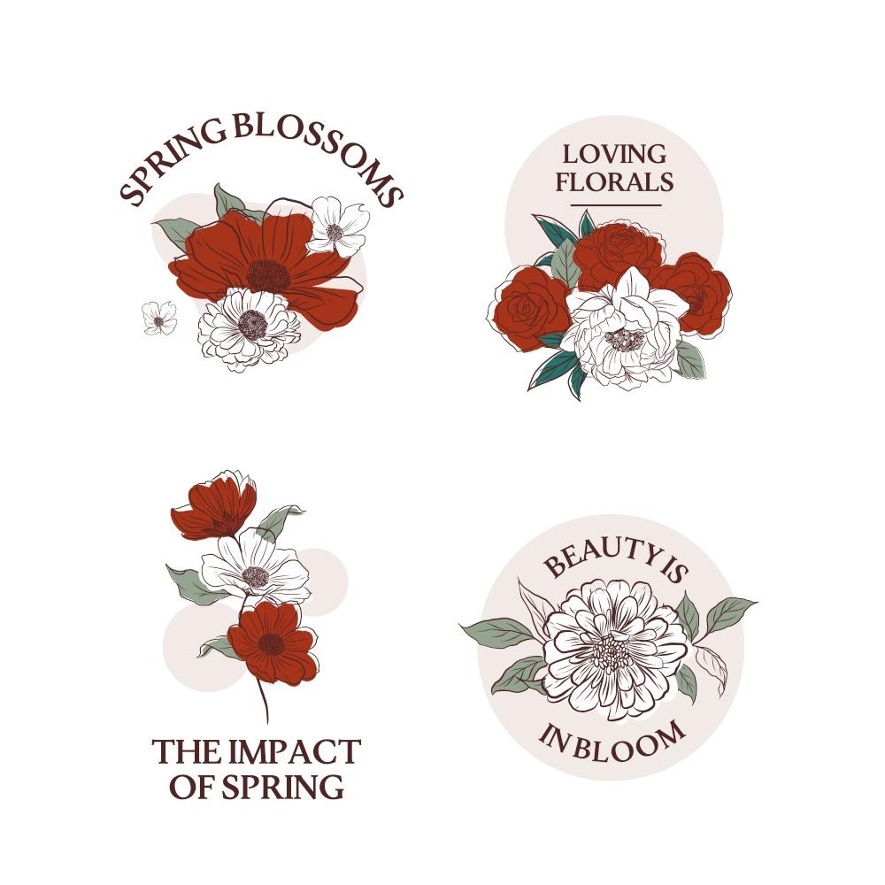 Bouquet floral with spring line art concept design watercolor illustration