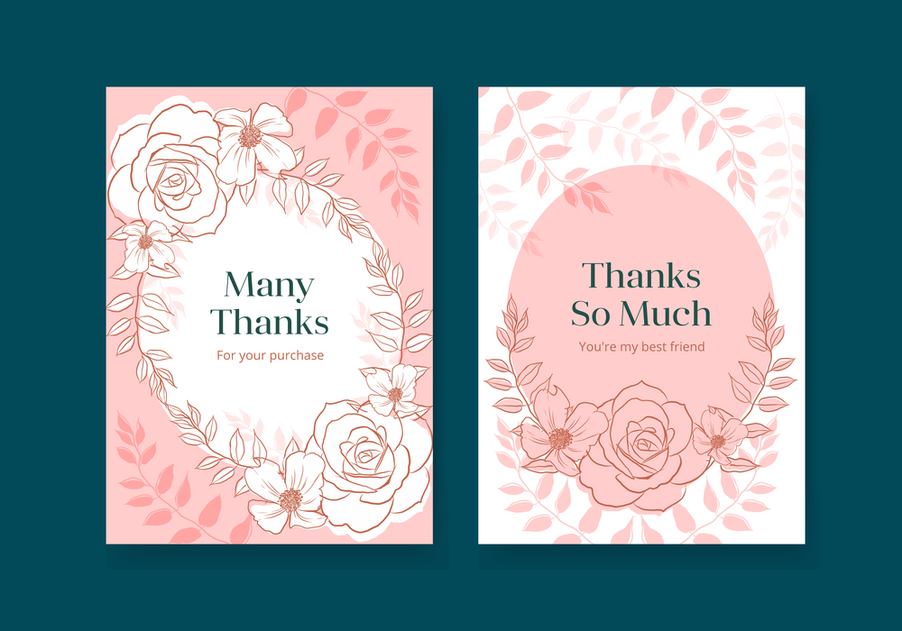 Floral card template with spring line art concept design watercolor illustration