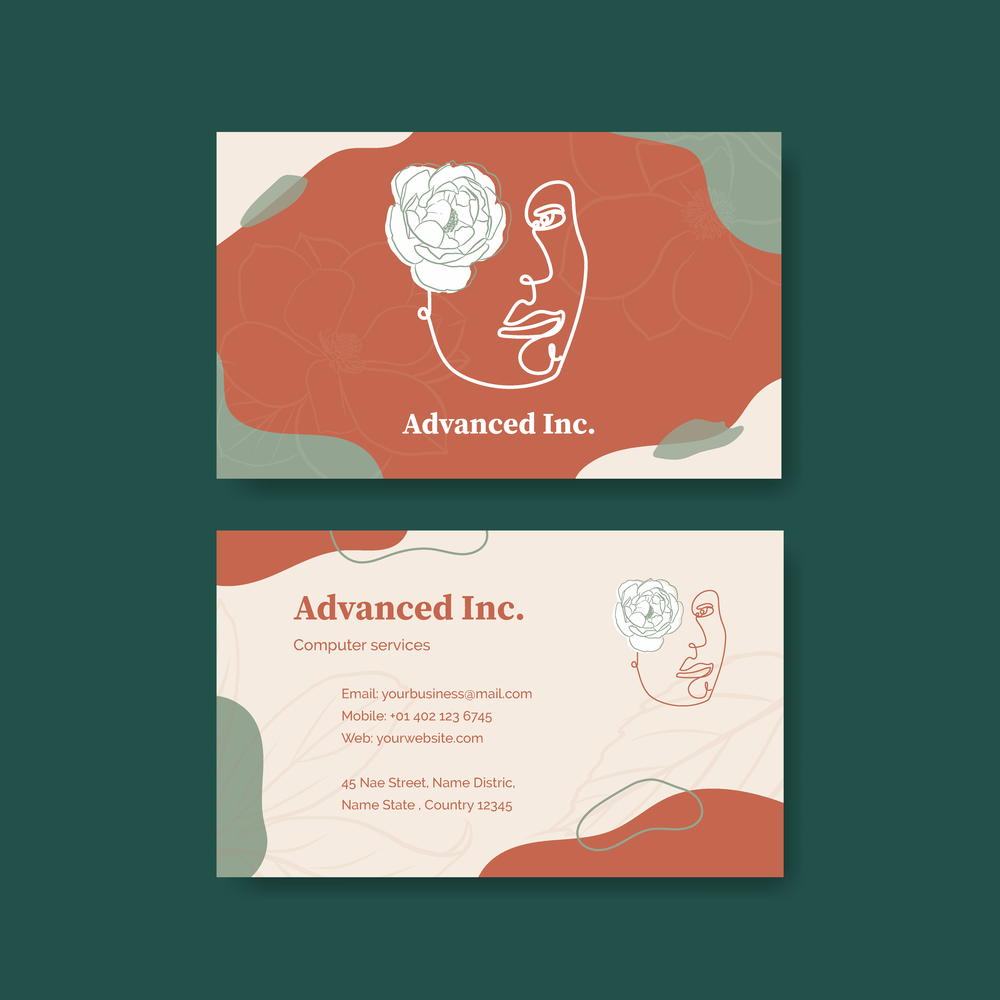Name card template with spring line art concept design watercolor illustration