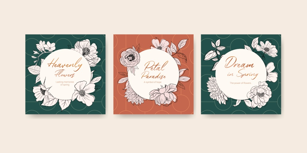 Advertise template with spring line art concept design watercolor illustration