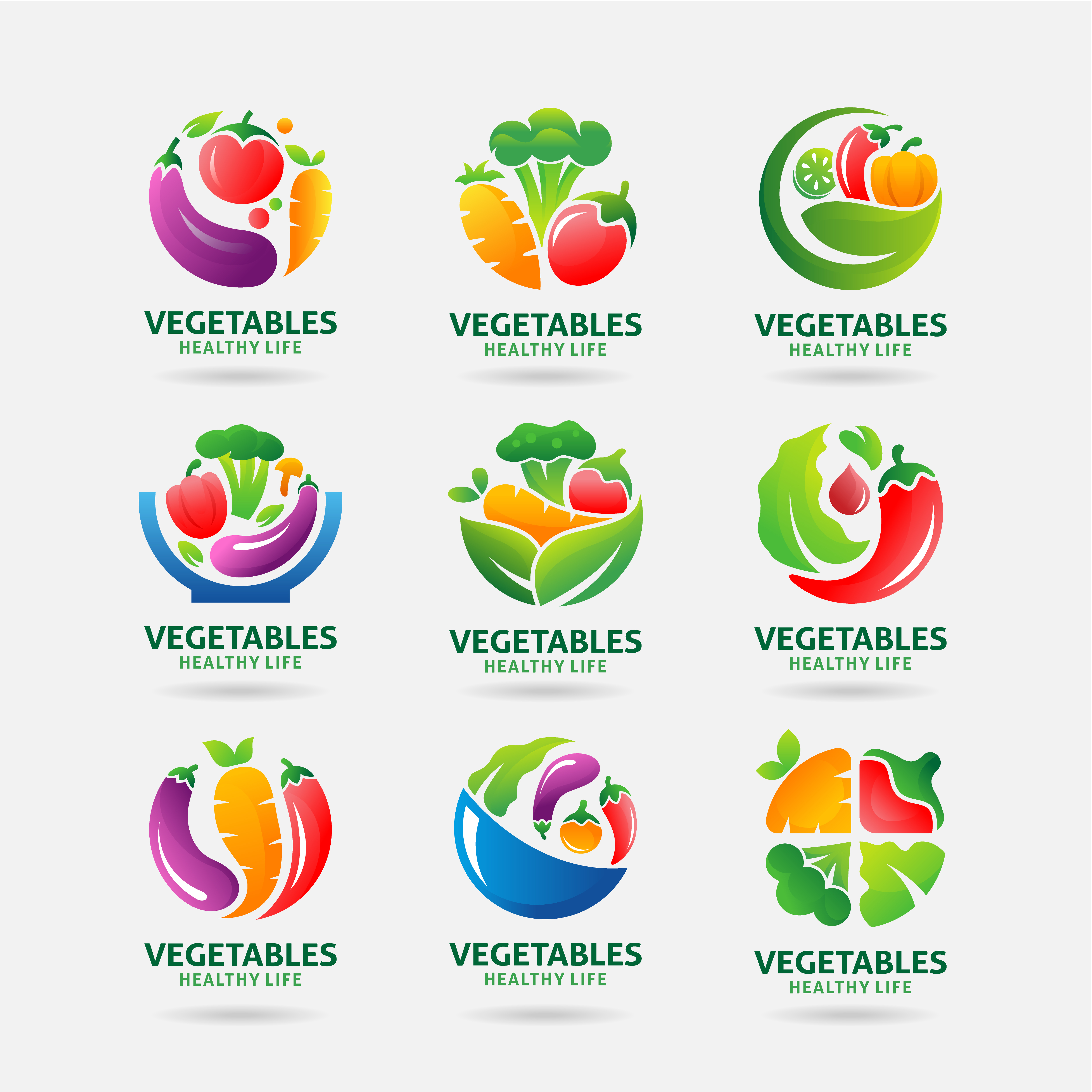 color fruit vegetable vegan vegetarian logo