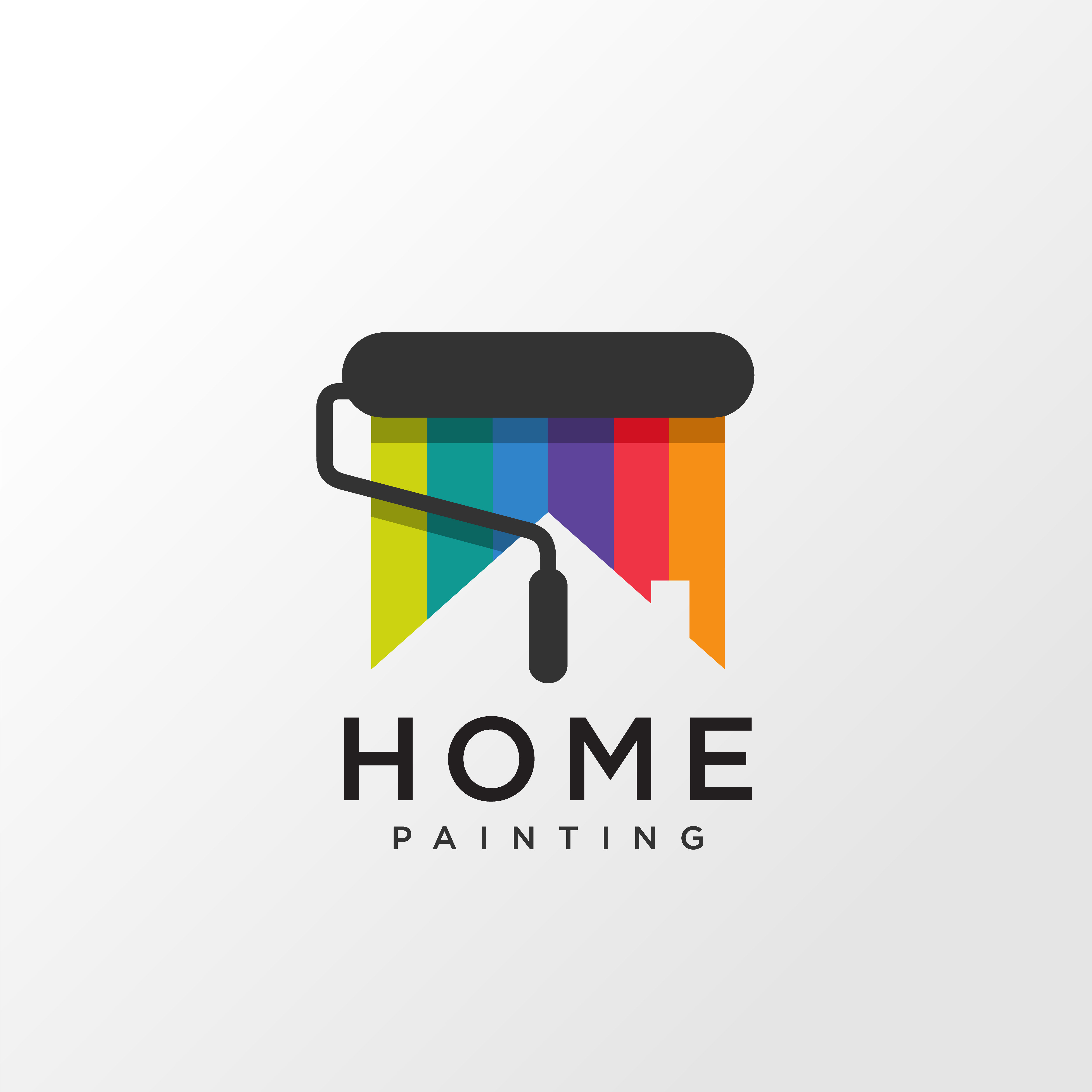 Home painting logo design concept with rainbow color