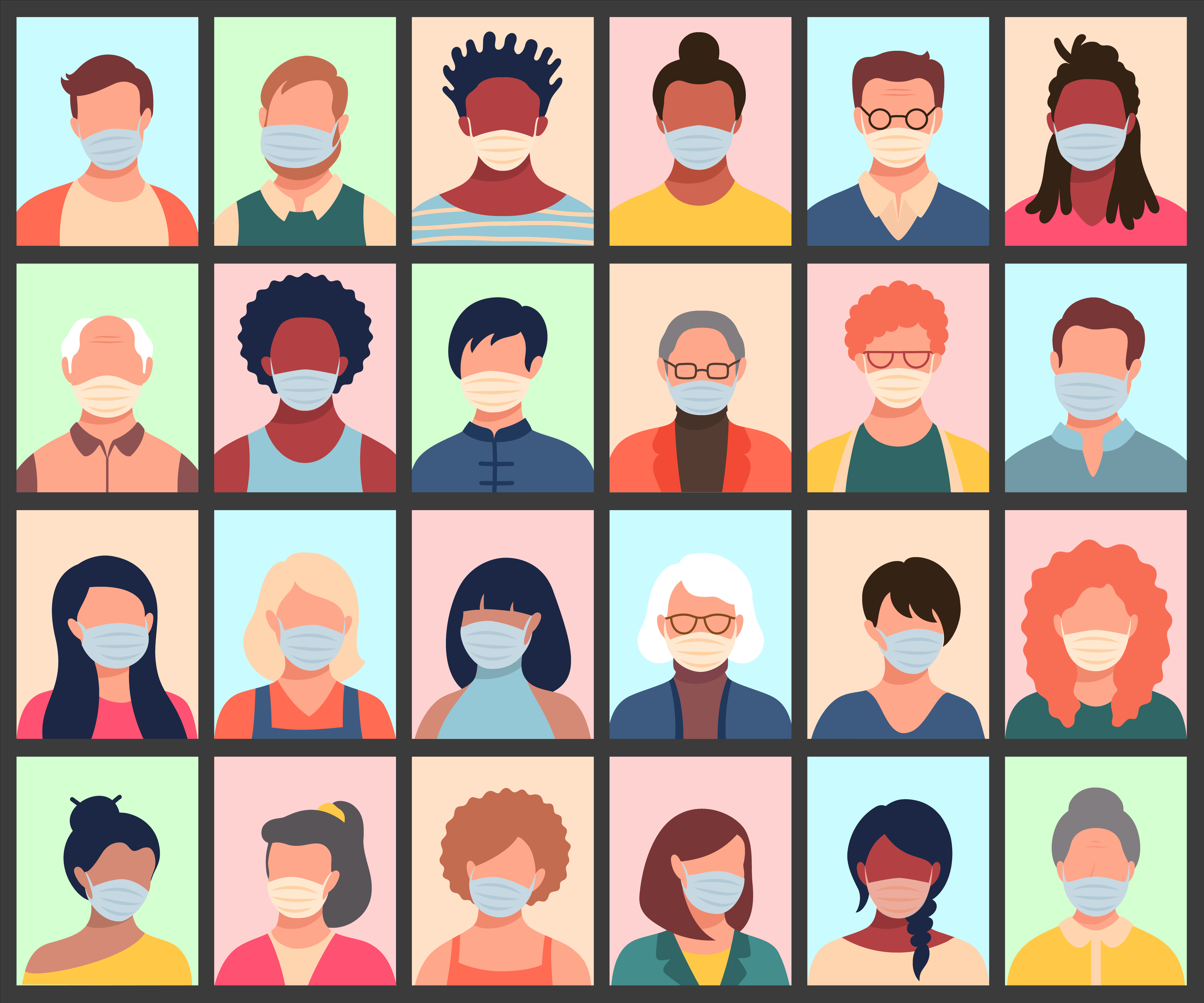 Vector set of persons avatars people heads of different ethnicity and age in protective masks