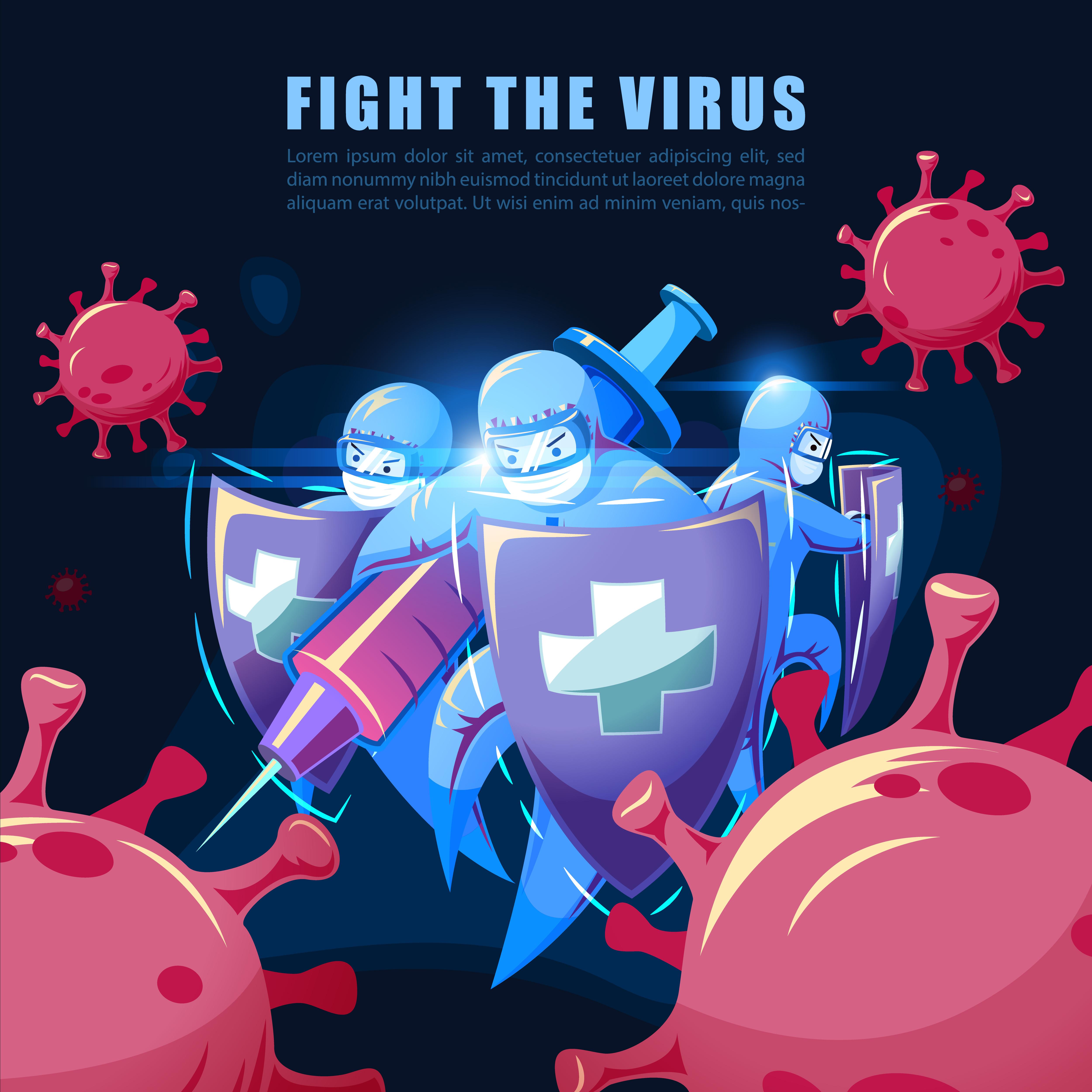 fight the virus covid19 ncov coronavirus concept