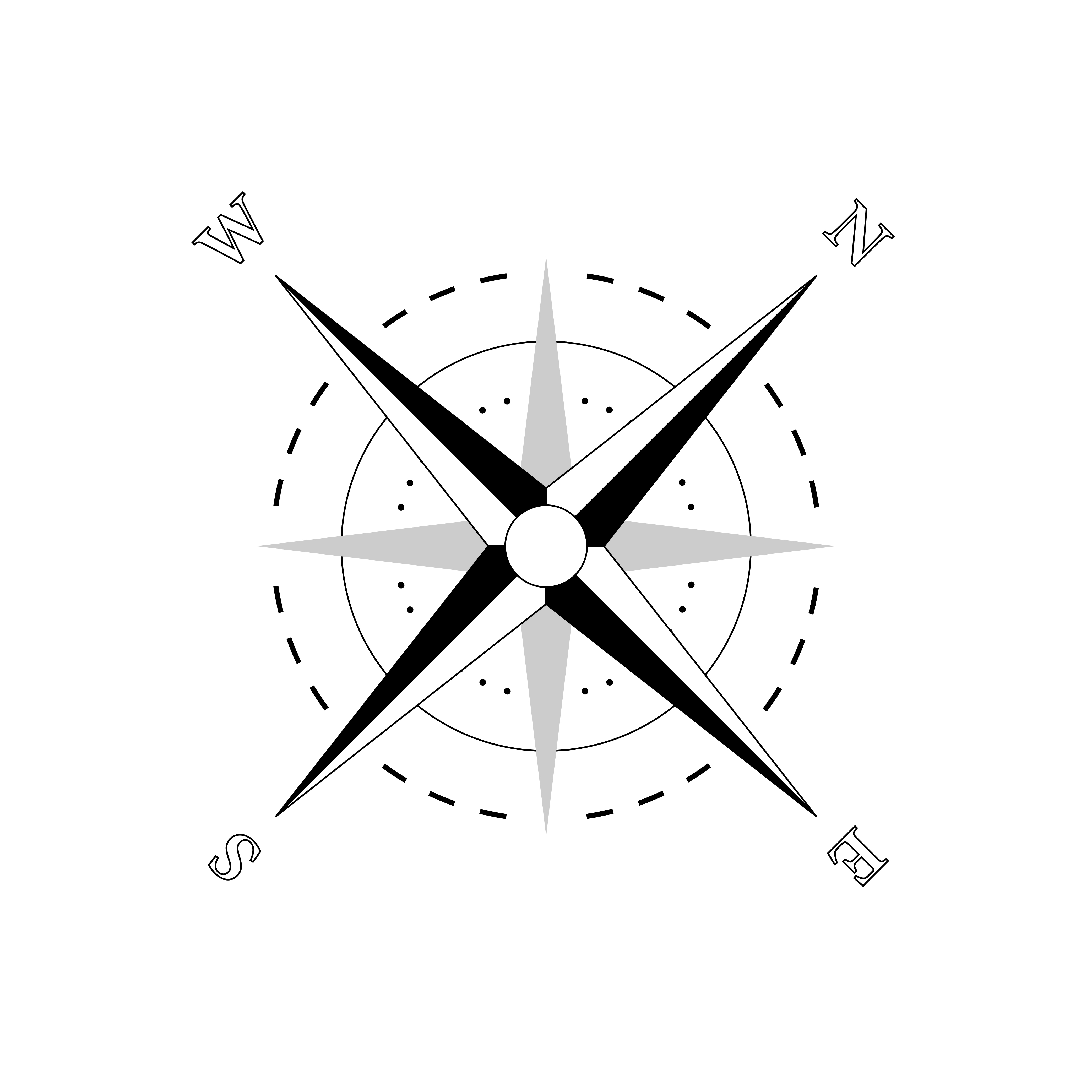Vector nautical compass silhouette. Navigation map sign. Wind rose icon. Horizon sides: north south west east