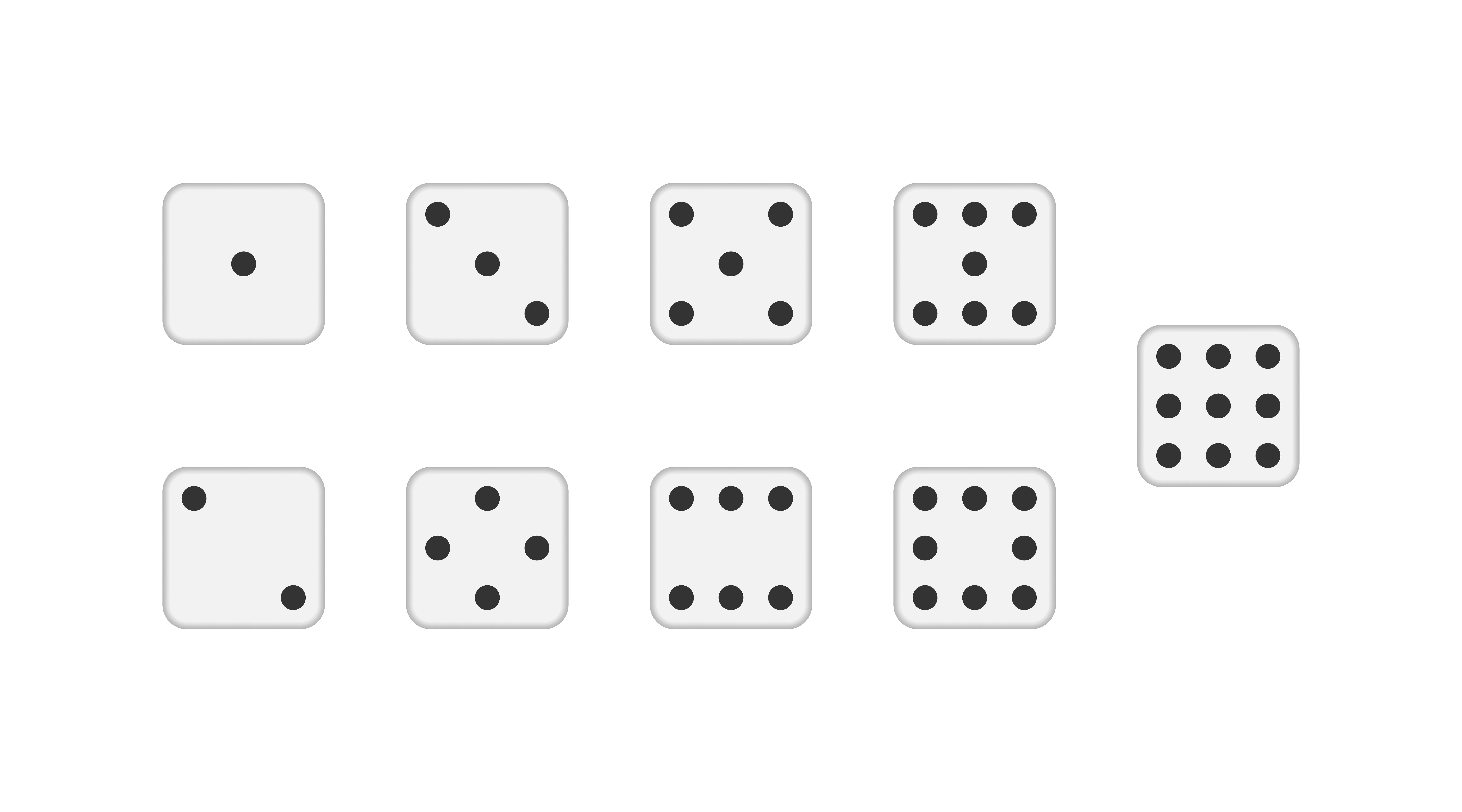 Vector Dice. White cubes icons with black circles. Six and nine dice. One two three four five dots. Devils bones poker game