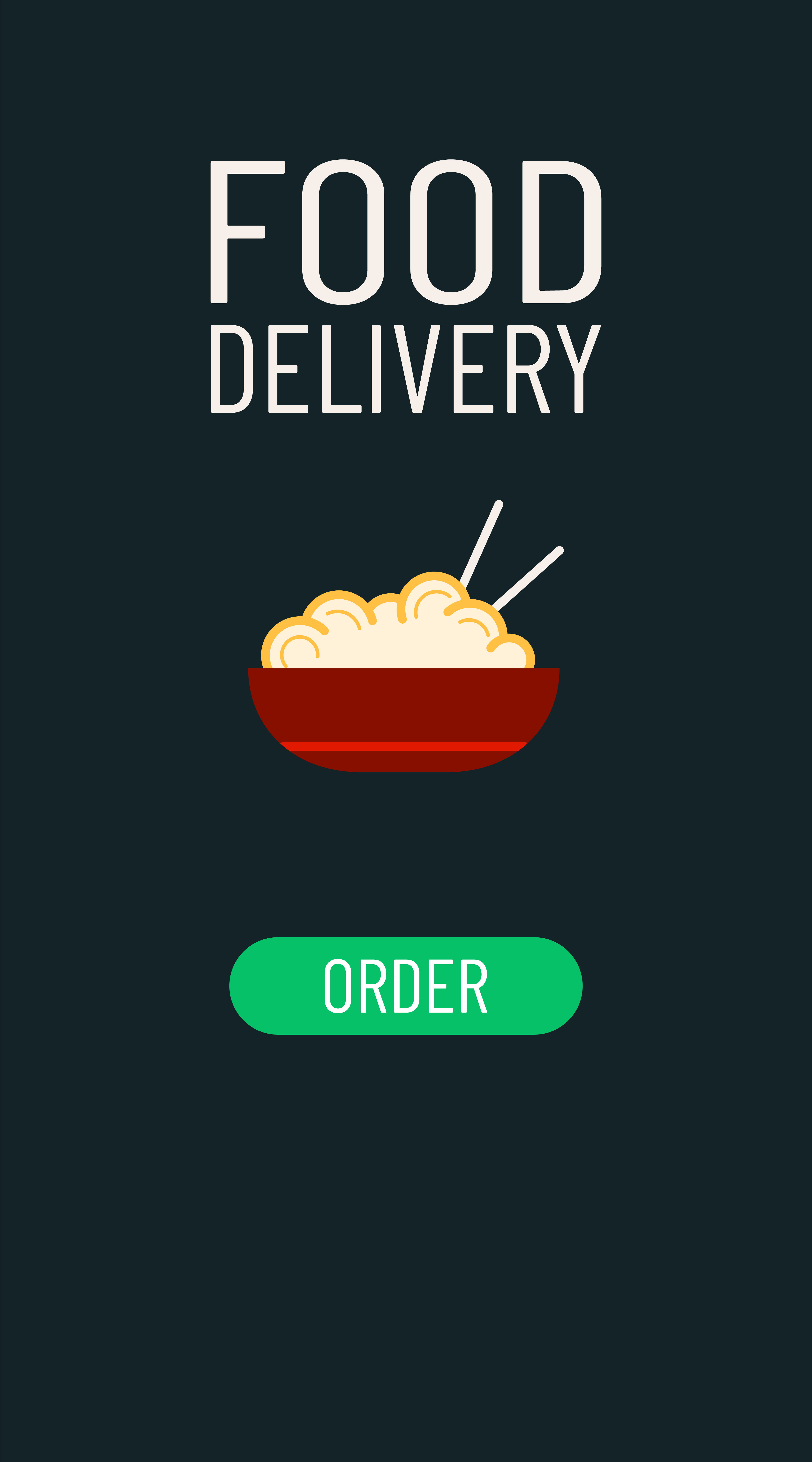 Food delivery order. Smartphone screen with online fast delivery food ordering. White lettering, drawn noodles icon and green button. Vector illustration.