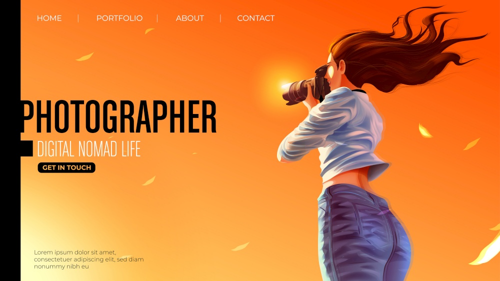 Template design for landing page in vector illustration of the lady photographer is smiling and taking a photo of the beautiful sunset
