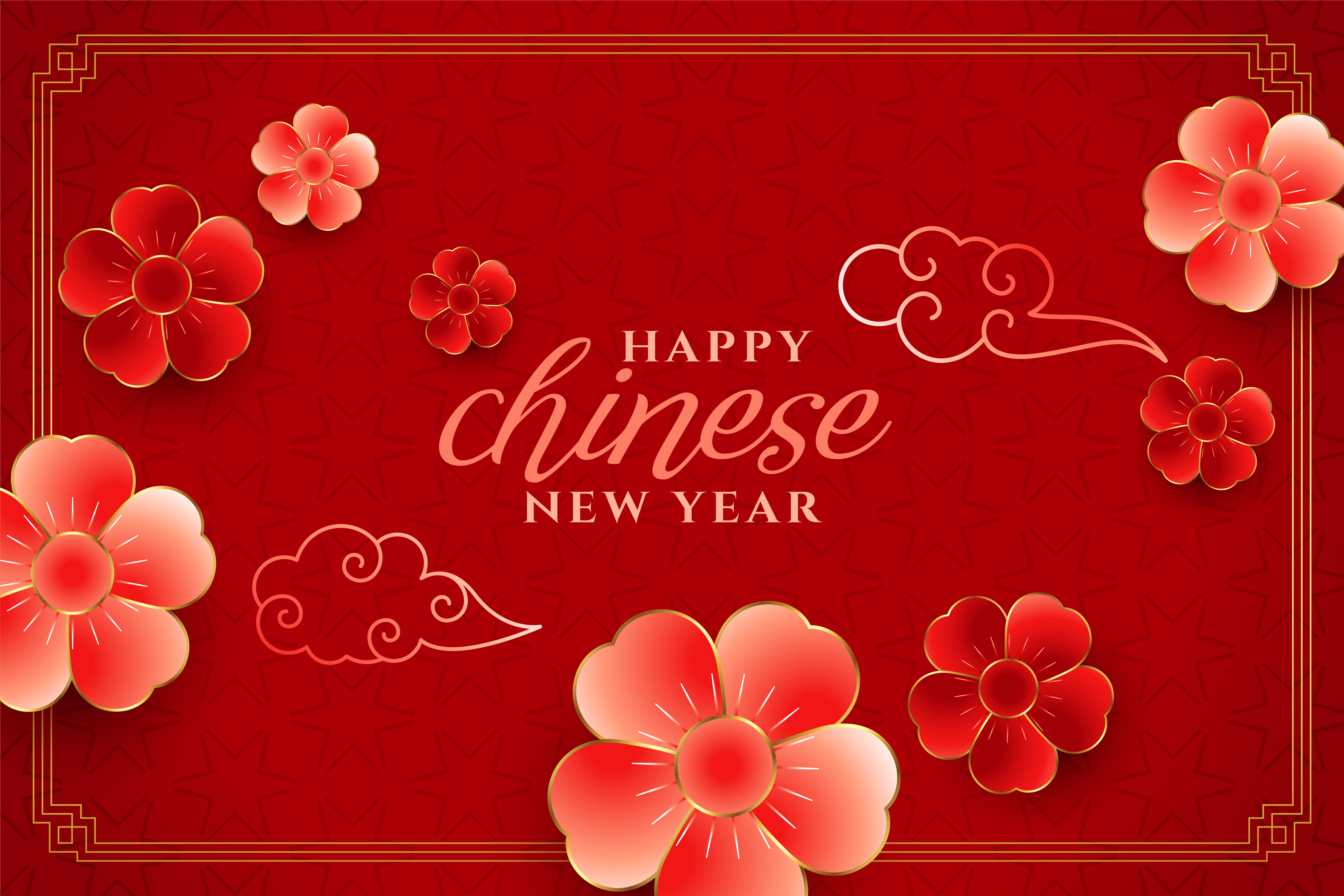 happy chinese new year flower concept background design