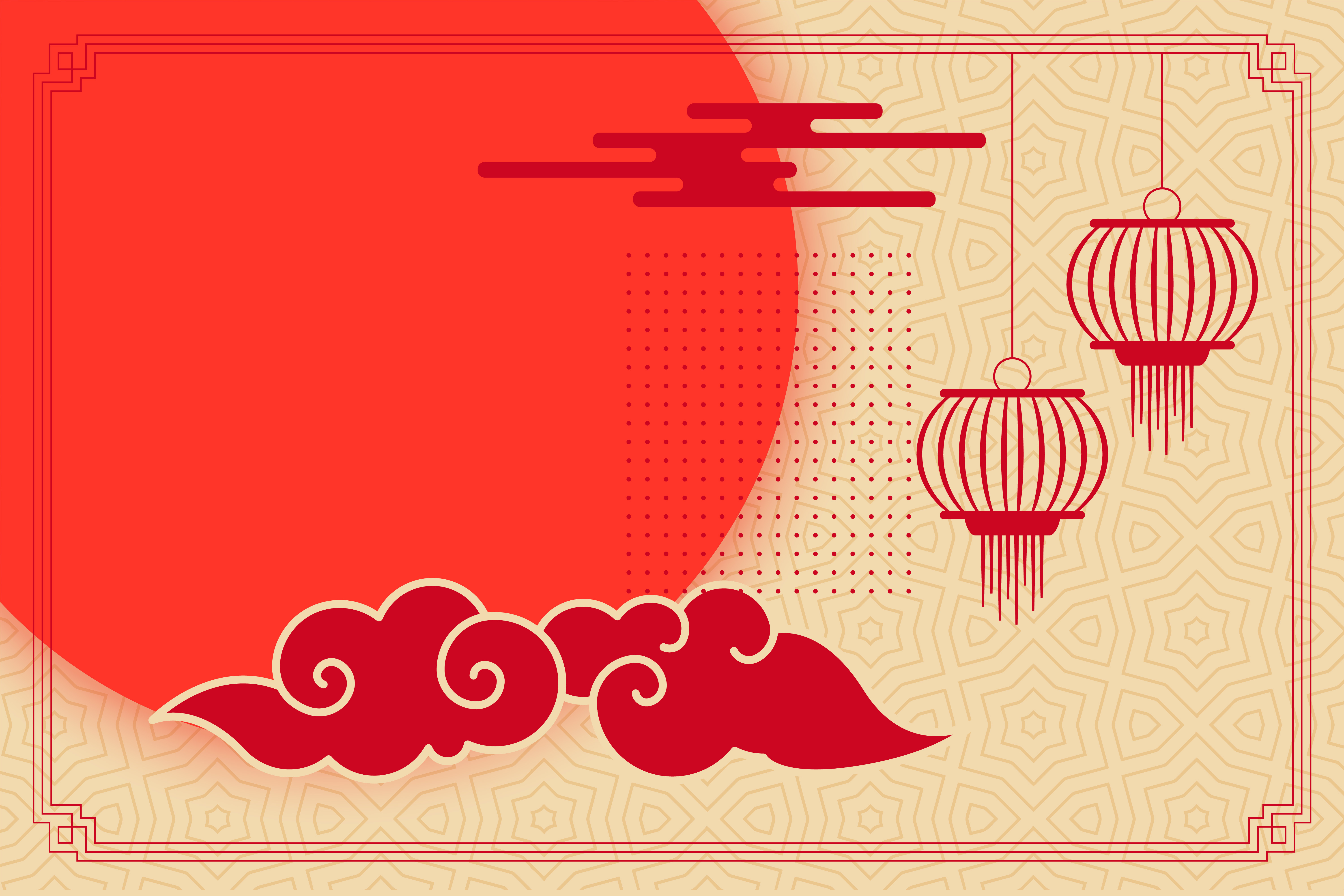 flat chinese theme background with lantern and clouds