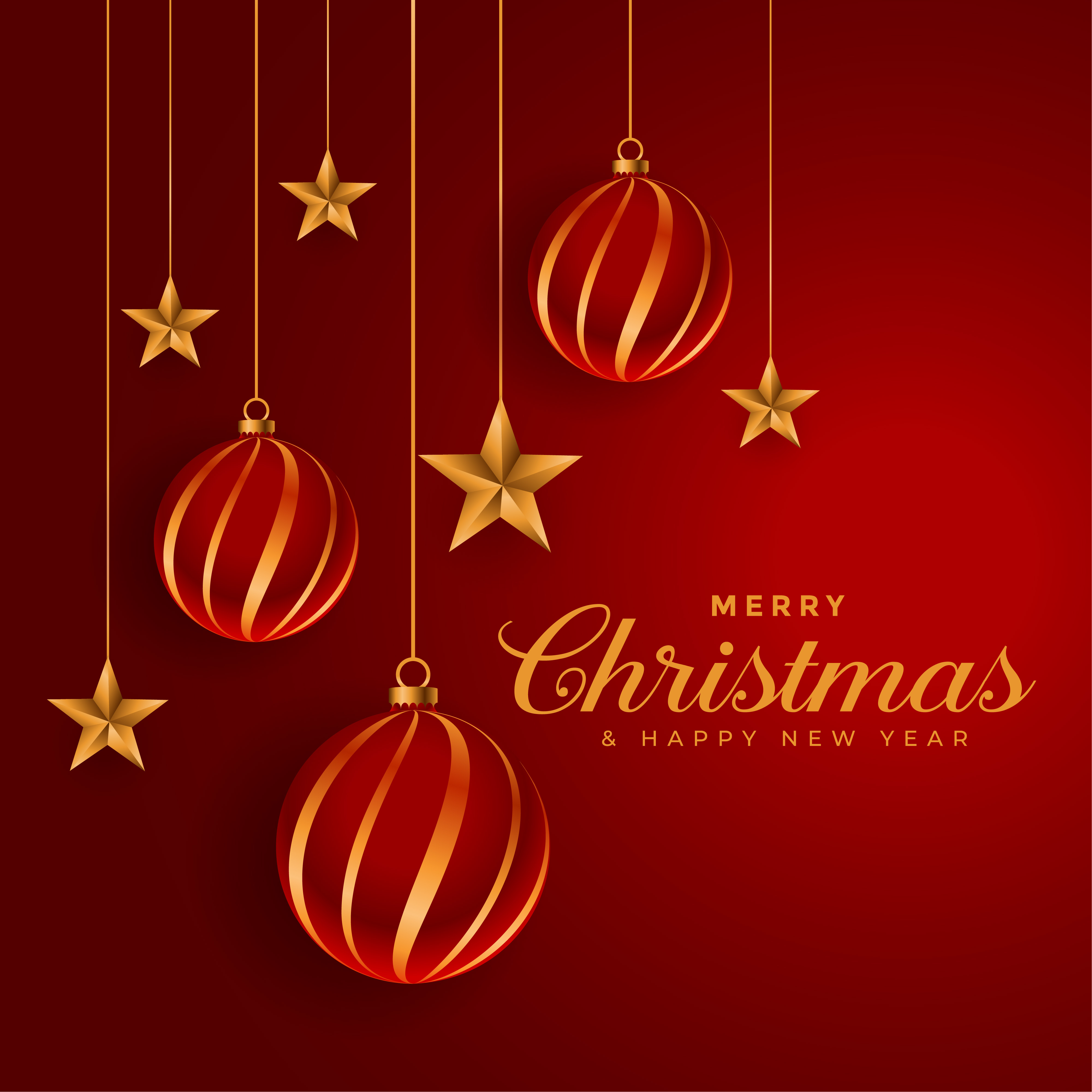 christmas balls and golden stars decorative festival background