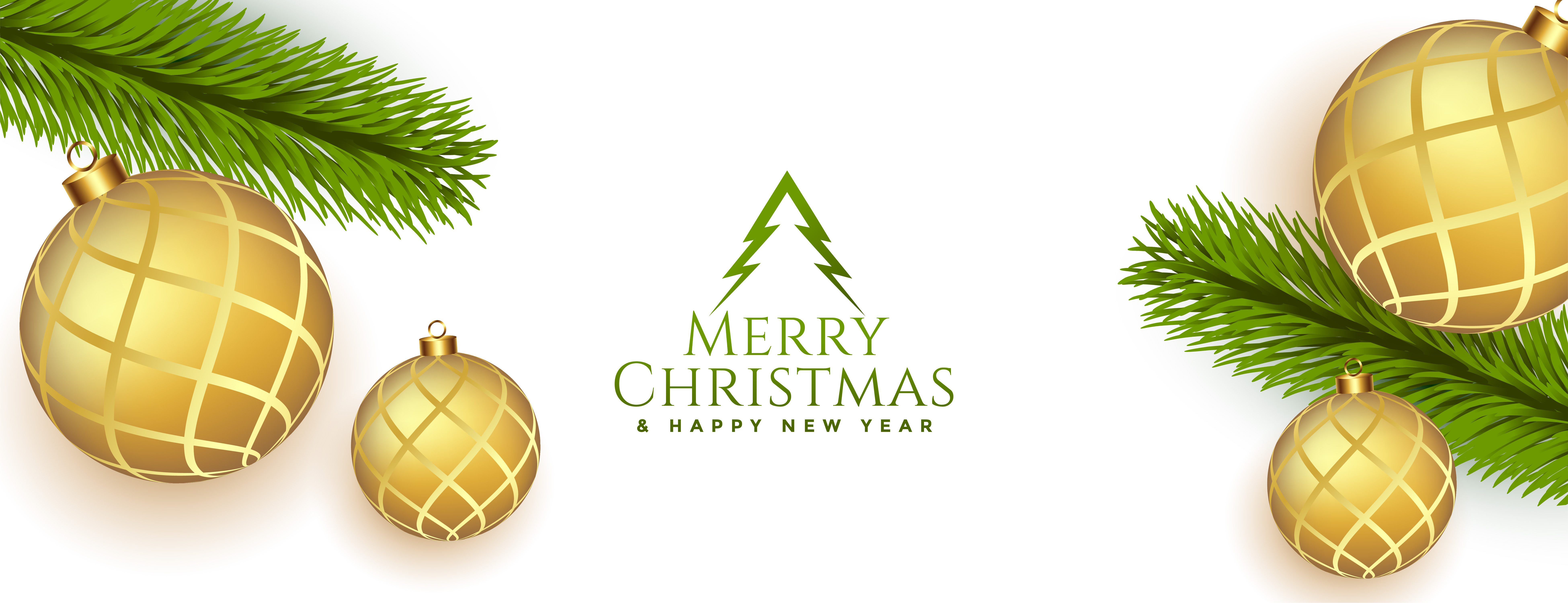 elegant merry christmas realistic banner with golden baubles