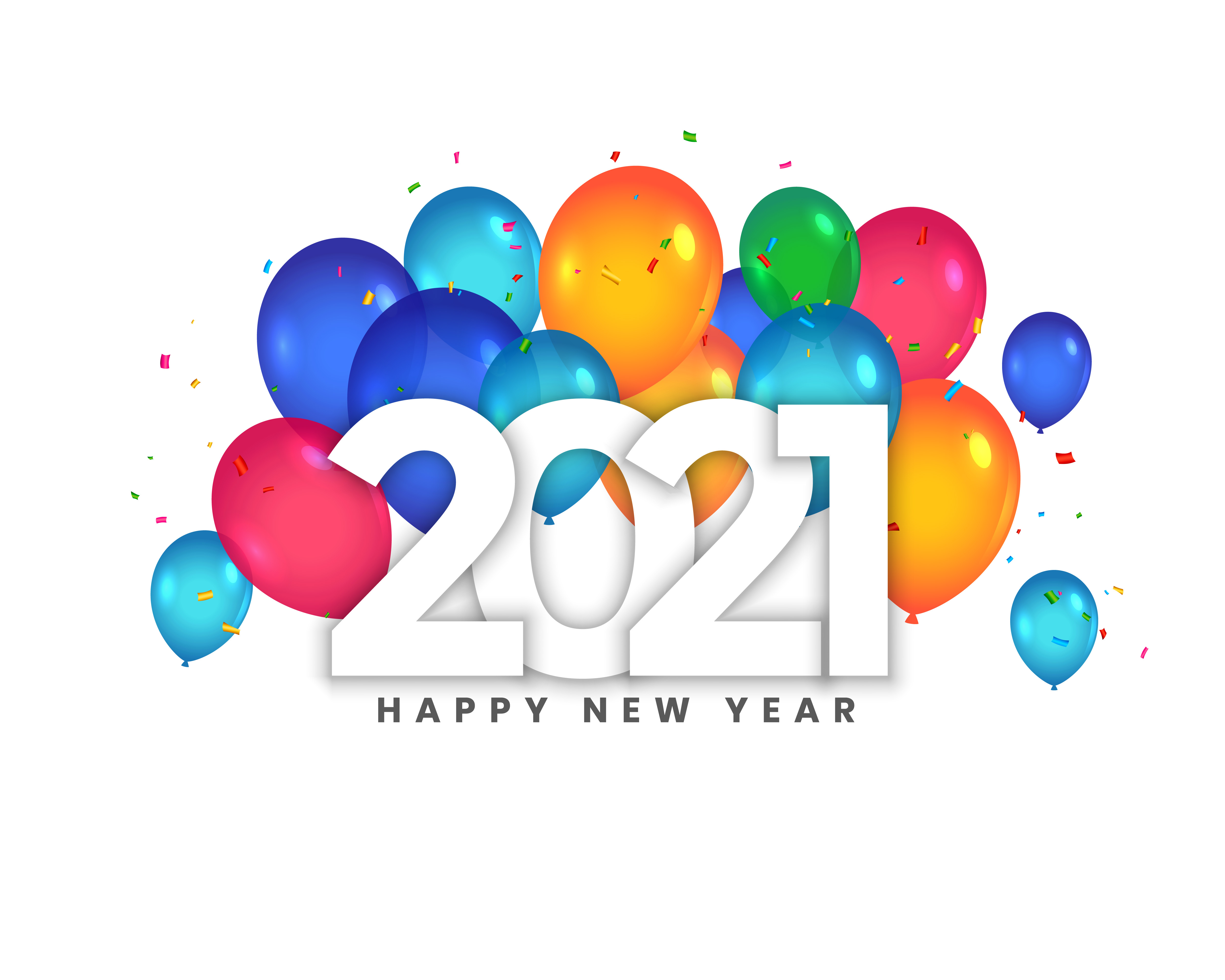 happy new year 2021 balloons celebration background design