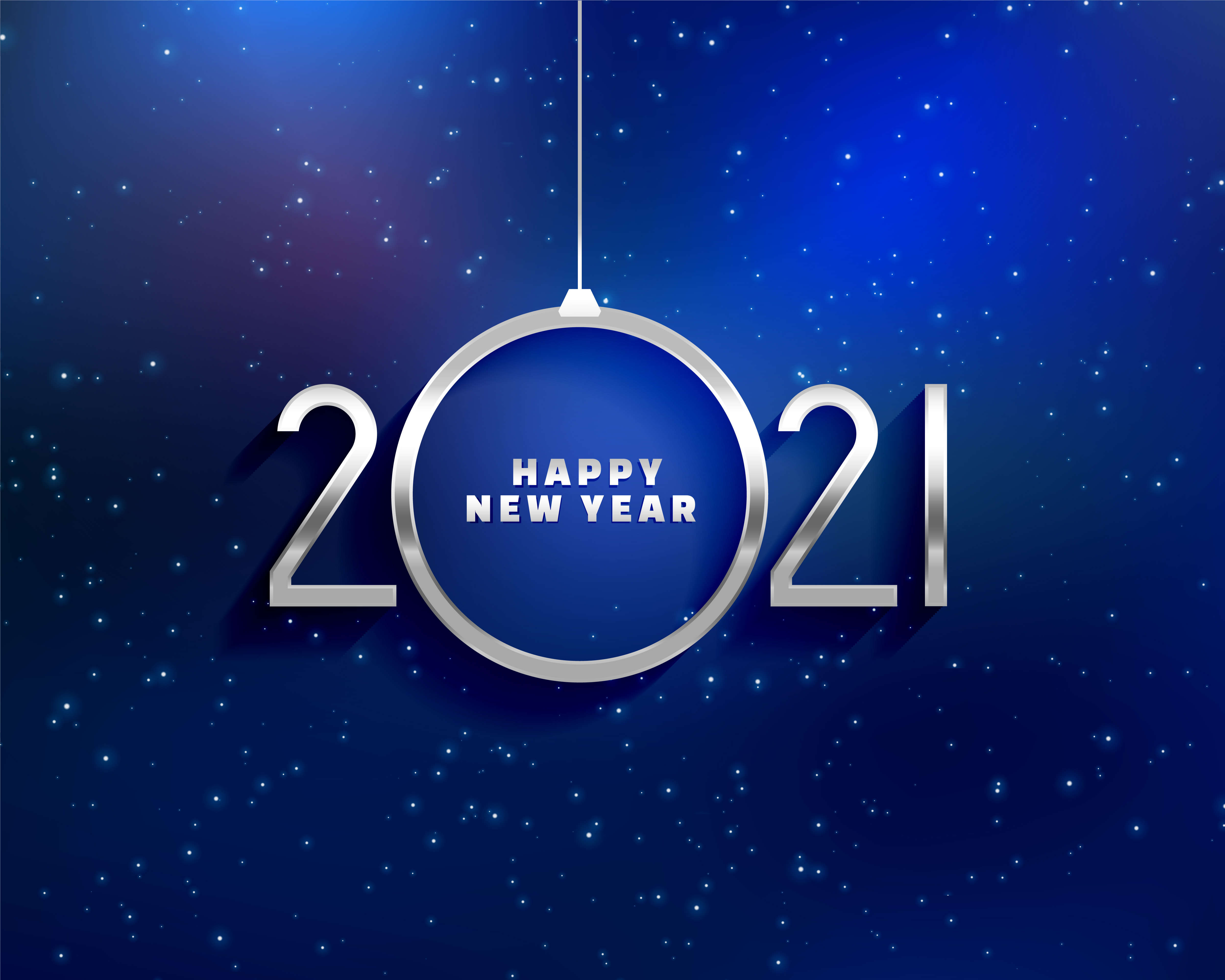 happy 2021 new year card in silver 3d style