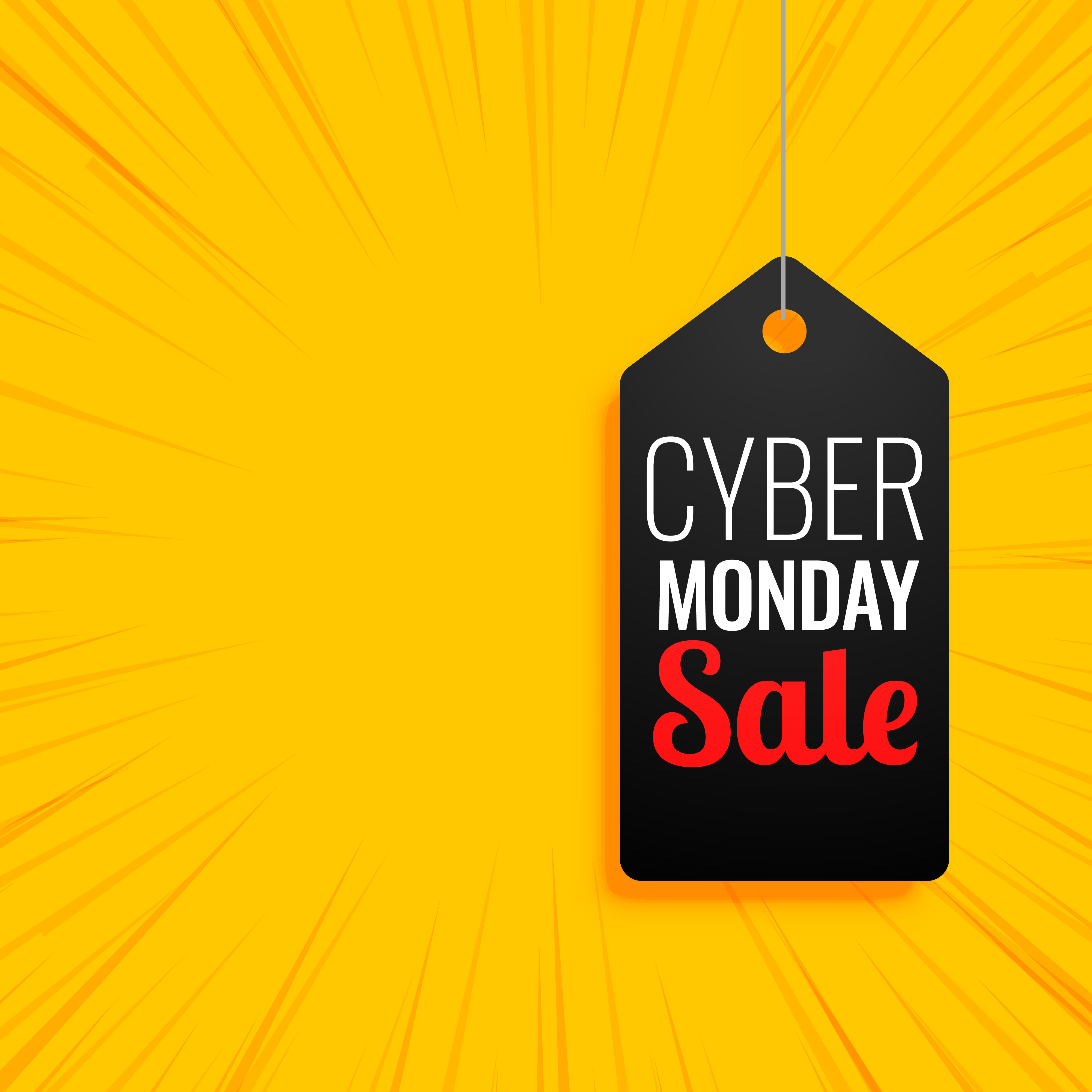 Cyber monday sale tag on yellow background