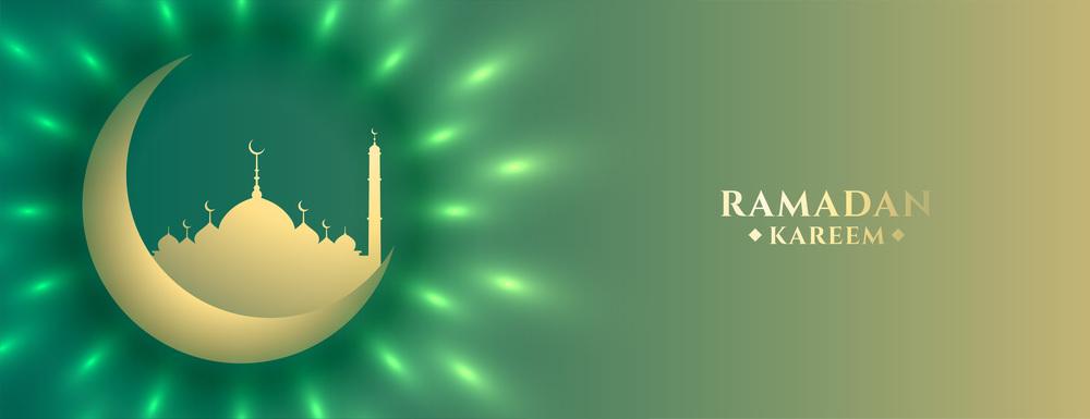 shiny moon and mosque ramadan kareem islamic banner