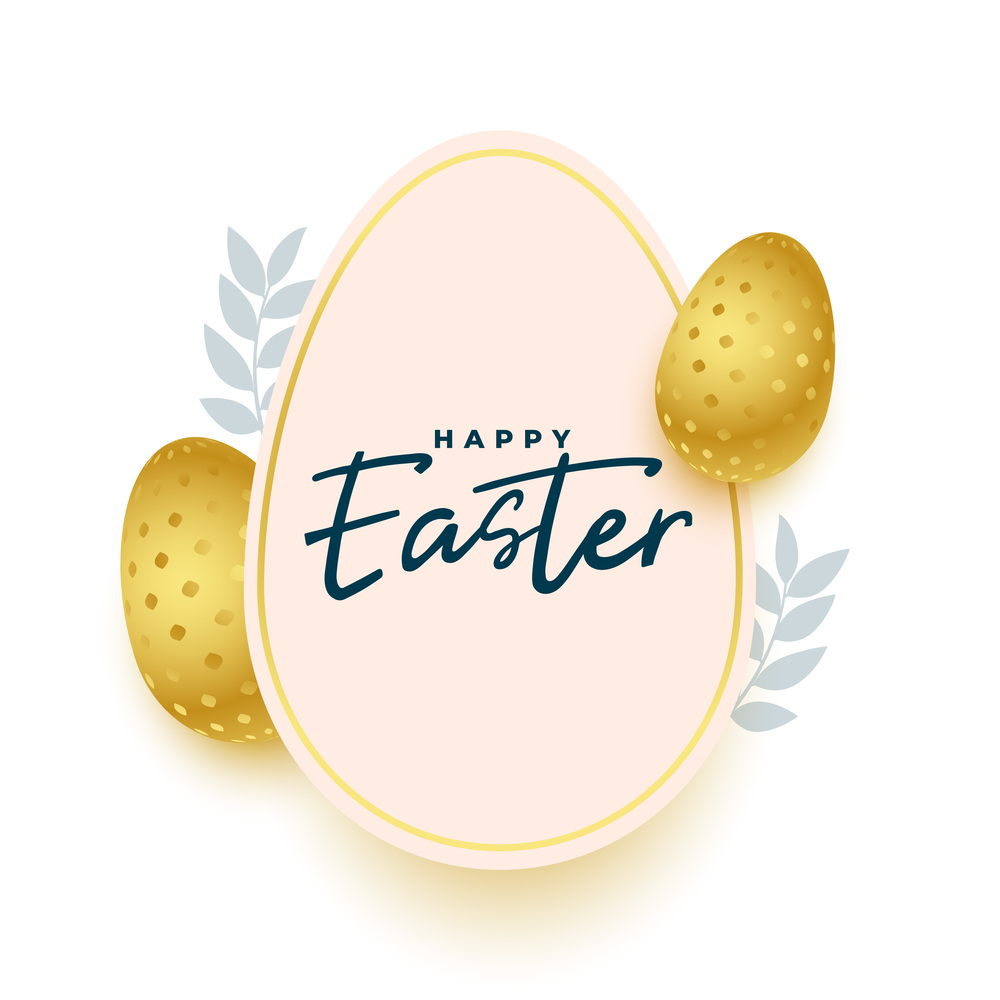 easter greeting in paper style with golden eggs