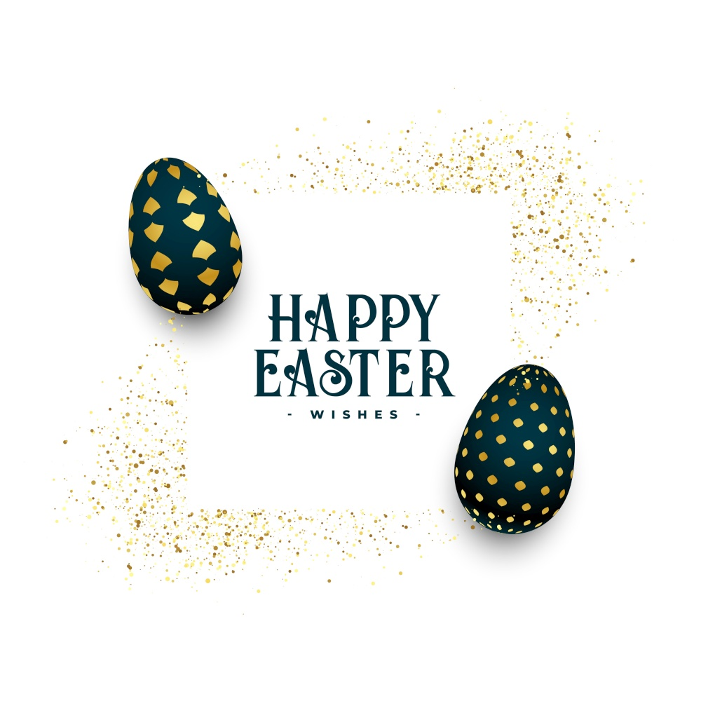happy easter golden eggs greeting with glitter